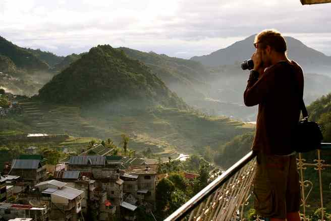 Rural tourism in the Philippines at Banaue Rice Terraces.