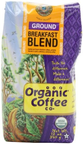The Organic Coffee Company Ground Breakfast Blend, 12-Ounce Bags (Pack of 2)