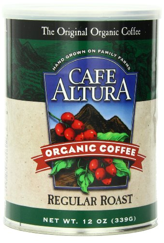 Cafe Altura Organic Coffee, Regular Roast, Ground, 12-Ounce Cans (Pack of 3)