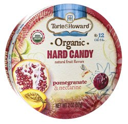 Torie and Howard Organic Hard Candy Tin, Pomegranate and Nectarine, 2 Ounce