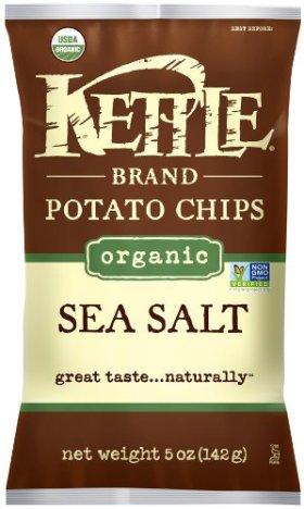 Kettle Organic Potato Chips, Sea Salt, 5-Ounce Bags (Pack of 15)