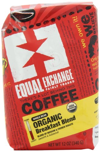 Equal Exchange Organic Coffee, Breakfast Blend, Whole Bean, 12-Ounce Bag