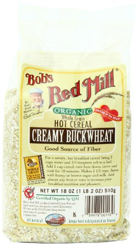 Bob's Red Mill Organic Whole Grain Creamy Buckwheat Hot Cereal, 18-Ounce Bags (Pack of 4)