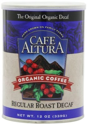 Cafe Altura Organic Coffee, Regular Roast Decaf, Ground, 12-Ounce Can (Pack of 3)