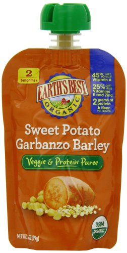 Earth's Best Organic Veggie & Protein Puree Baby Food, Sweet Potato Garbanzo Barley, 3.5 Ounce (Pack of 12)