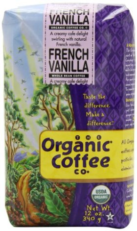 The Organic Coffee Co. Whole Bean, French Vanilla, 12 Ounce (Pack of 3)
