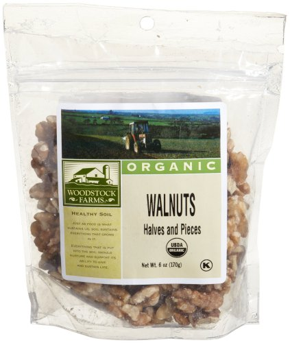 Woodstock Farms Walnuts, Halves and Pieces, Organic, 6-Ounce Bags (Pack of 4)