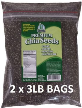 Get Chia Brand BLACK Chia Seeds – 6 TOTAL POUNDS = TWO x 3 Pound Bags