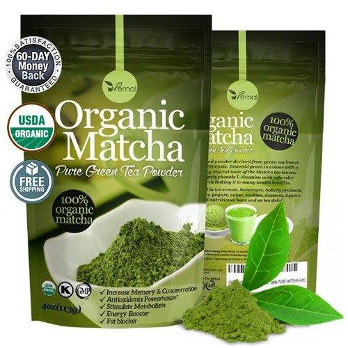 ORGANIC MATCHA Green Tea Powder – ANTIOXIDANTS – FAT BLOCKER – ENERGY BOOSTER – Incredible taste – USDA ORGANIC – KOSHIER – GMP CERTIFIED – 60 days money back guaranty – Best taste PURE MATCHA (4oz)