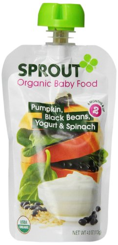 Sprout Baby Food Stage Two, Pumpkin, Black Beans, Yogurt and Spinach, 4 Ounce (Pack of 5)