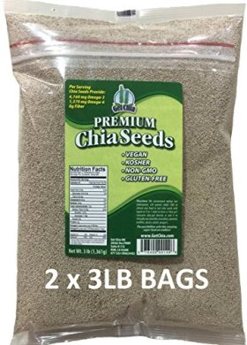 Marquis-Nutra Foods / Get Chia Brand WHITE Chia Seeds – 6 TOTAL POUNDS = TWO x 3 Pound Bags