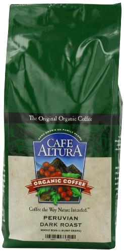 Cafe Altura Organic Coffee, Peruvian Dark, Whole Bean, 32-Ounce Bag