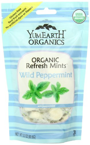 YumEarth Organic Wild Peppermint Drops, 3.3 Ounce Pouches (Pack of 6)