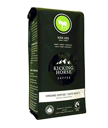 Kicking Horse Ground Coffee, Kick Ass Dark Roast, 10 Ounce