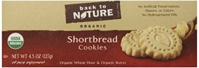 Back To Nature Organic Shortbread Cookies, 4.5 Ounce