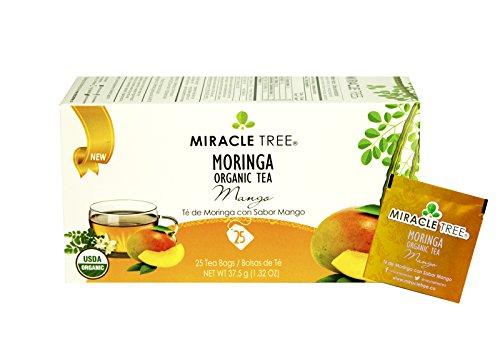 Miracle Tree – USDA Organic Premium Moringa Wellness Tea: Mango – 25 Individually Sealed Tea Bags