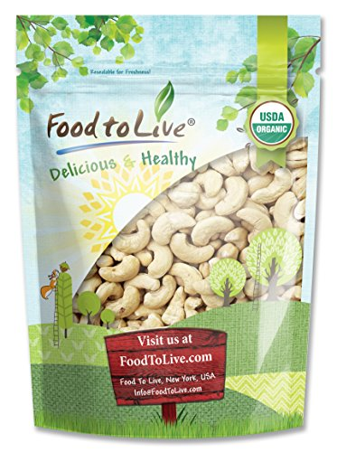 Food to Live® CERTIFIED ORGANIC CASHEWS (Whole, Raw) (4 lbs)