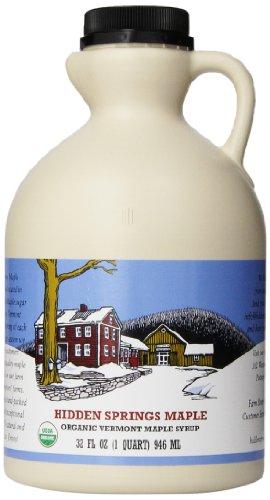 Hidden Springs Maple Vermont Maple Syrup, Quart Premium Grade B Organic, 32 Ounce