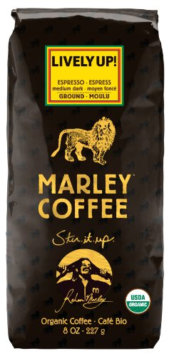 Marley Coffee, Organic Lively Up! Espresso Ground Coffee, 8 Ounce