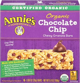Annie's Organic , Chocolate Chip, 0.98-Ounce Bars, 6 count, (pack of 4)