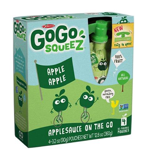 GoGo squeeZ Applesauce On The Go – Apple Apple – 3.2oz, 4 pk