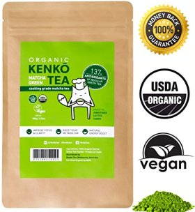 Kenko Matcha Green Tea Powder [USDA Organic] Culinary Grade Matcha Powder for Lattes, Smoothies and Baking [100g Bag = 50 Servings]