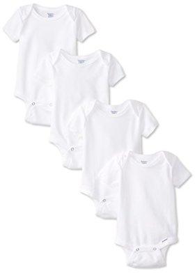 Gerber Unisex-Baby Newborn 4 Pack Organic Onesies Brand, White, Newborn
