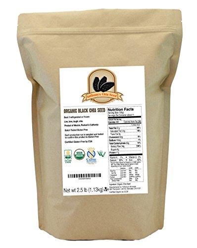 Anthony's USDA Organic Chia Seeds Bulk (2.5lb, 40oz.) Certified Gluten-Free