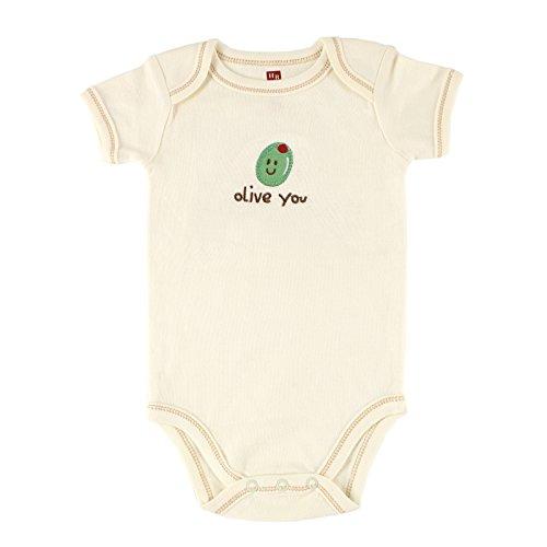 Hudson Baby Organic Sayings Bodysuit, Olive, 0-3 Months