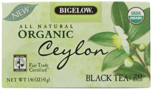 Bigelow Organic Ceylon Fair Trade Certified Tea, 20-Count 1.46-Ounce Boxes (Pack of 6)