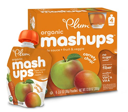 Plum Kids Organic Fruit and Veggie Mashups, Carroty Chop, 4 Count