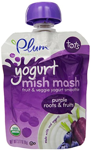 Plum Organics Tots Yogurt Mish Mash Fruit and Veggie Smoothie, Purple Roots and Fruit, 3.17 Ounce