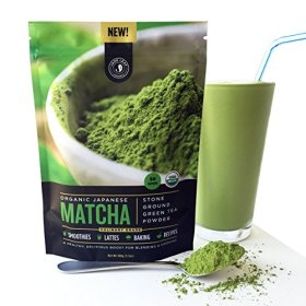 New! Authentic Japanese Matcha Green Tea Powder By Jade Leaf Organics – 100% USDA Certified Organic, All Natural, Nothing Added – Culinary Grade for Mixing into Smoothies, Lattes, Baking & Cooking Recipes (100g value size)