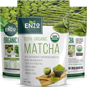 MATCHA Green Tea Powder – Fat Burner – 100% USDA Organic Certified – 137x ANTIOXIDANTS Than Brewed Green Tea – Sugar Free – Great for Green Tea Latte, Smoothie, Ice Cream and Baking – Coffee Substitute (4oz)