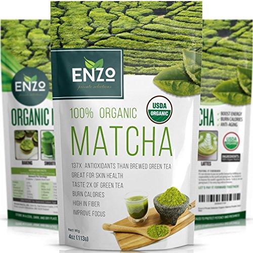 MATCHA Green Tea Powder – Fat Burner – 100% USDA Organic Certified – 137x ANTIOXIDANTS Than Brewed Green Tea – Sugar Free – Great for Green Tea Latte, Smoothie, Ice Cream and Baking – Coffee Substitute (4oz)