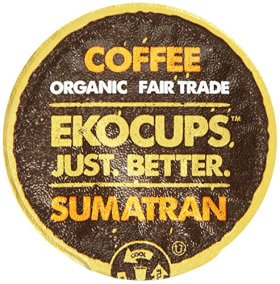 EKOCUPS Organic Artisan Coffee, Sumatran, Dark roast for Keurig K-cup single serve Brewers, 40 count