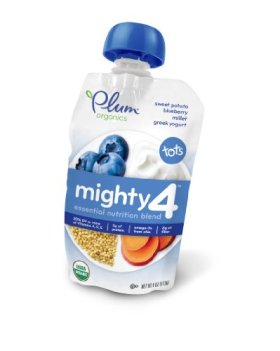 Plum Organics Mighty 4, Sweet Potato Blueberry Millet Greek Yogurt, 1 Count