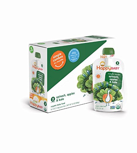 Happy Baby Organic Baby Food 2 Simple Combos, Apple Spinach & Kale, 4 Ounce (Pack of 16)