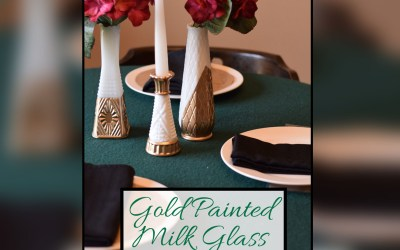 Gold Painted Milk Glass