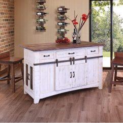 Distressed Kitchen Island Shelf Decor Pueblo White