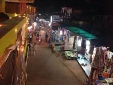 One end of Arambol market at night
