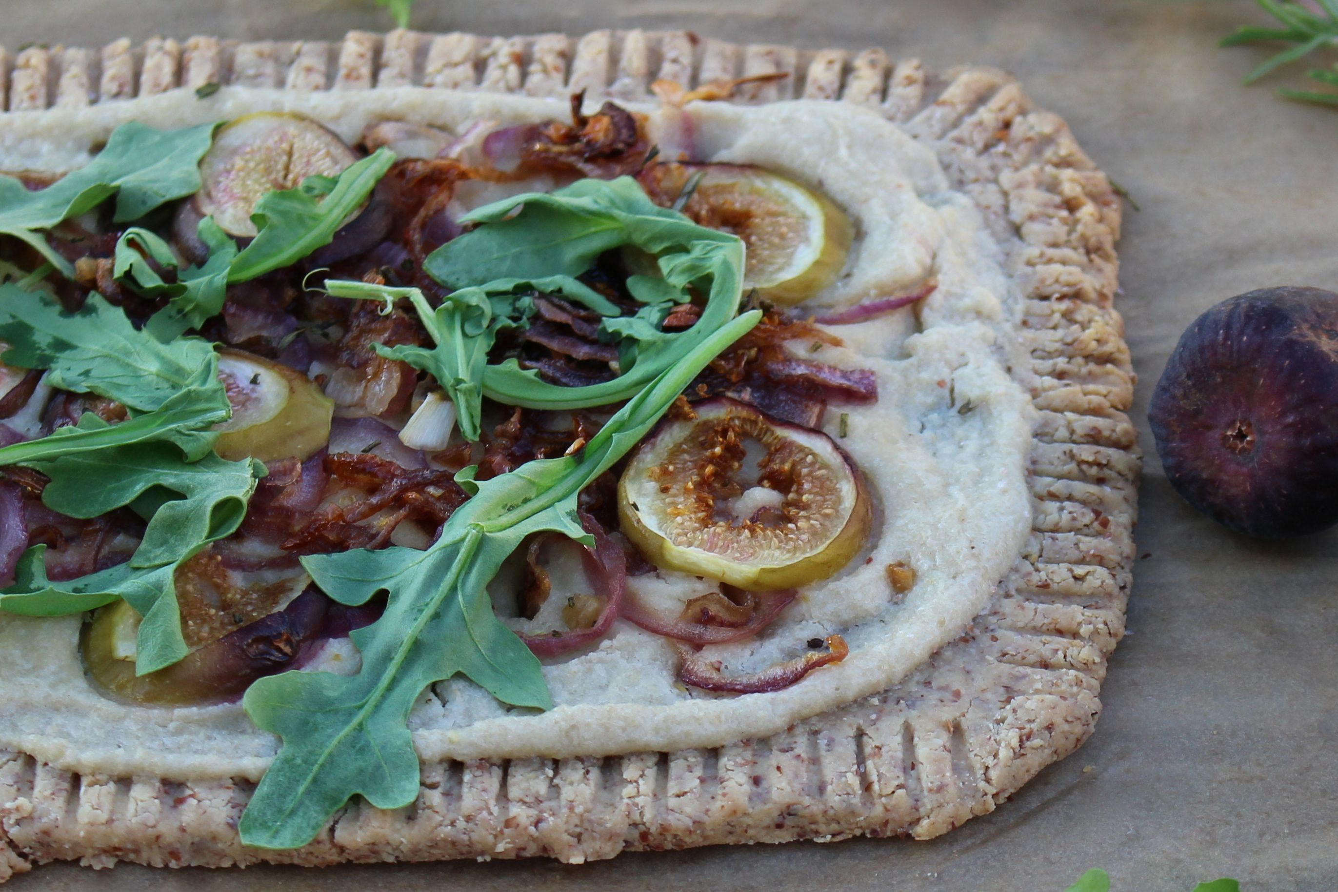 Gluten Free Fig, Onion Arugula Tart