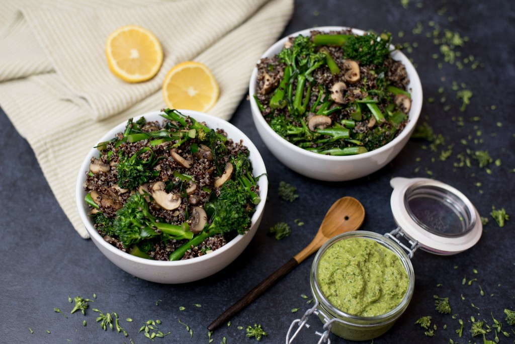Black Quinoa Pesto Bowls