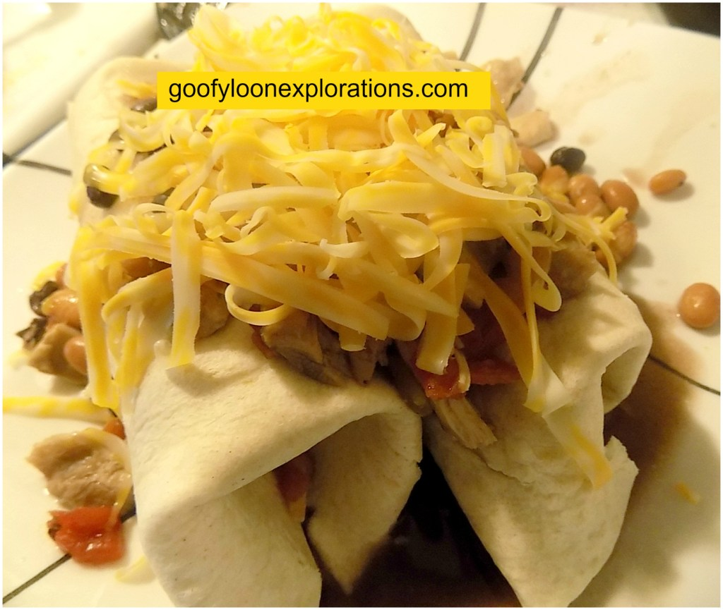 Quick and Easy Chicken Burritos - Burritos Smothered With Filling and Cheese
