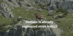 Domain is already registered error #0847