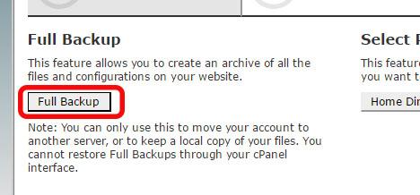 Select Full Backup Option