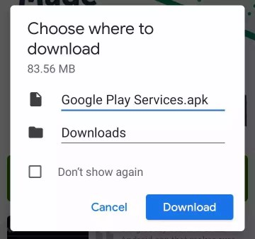 downloading play service apk file