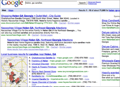 Google Universal Search com Google Local Business