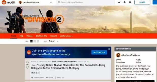 Anthem Subreddit Turns to April Fools' Division 2 Forum