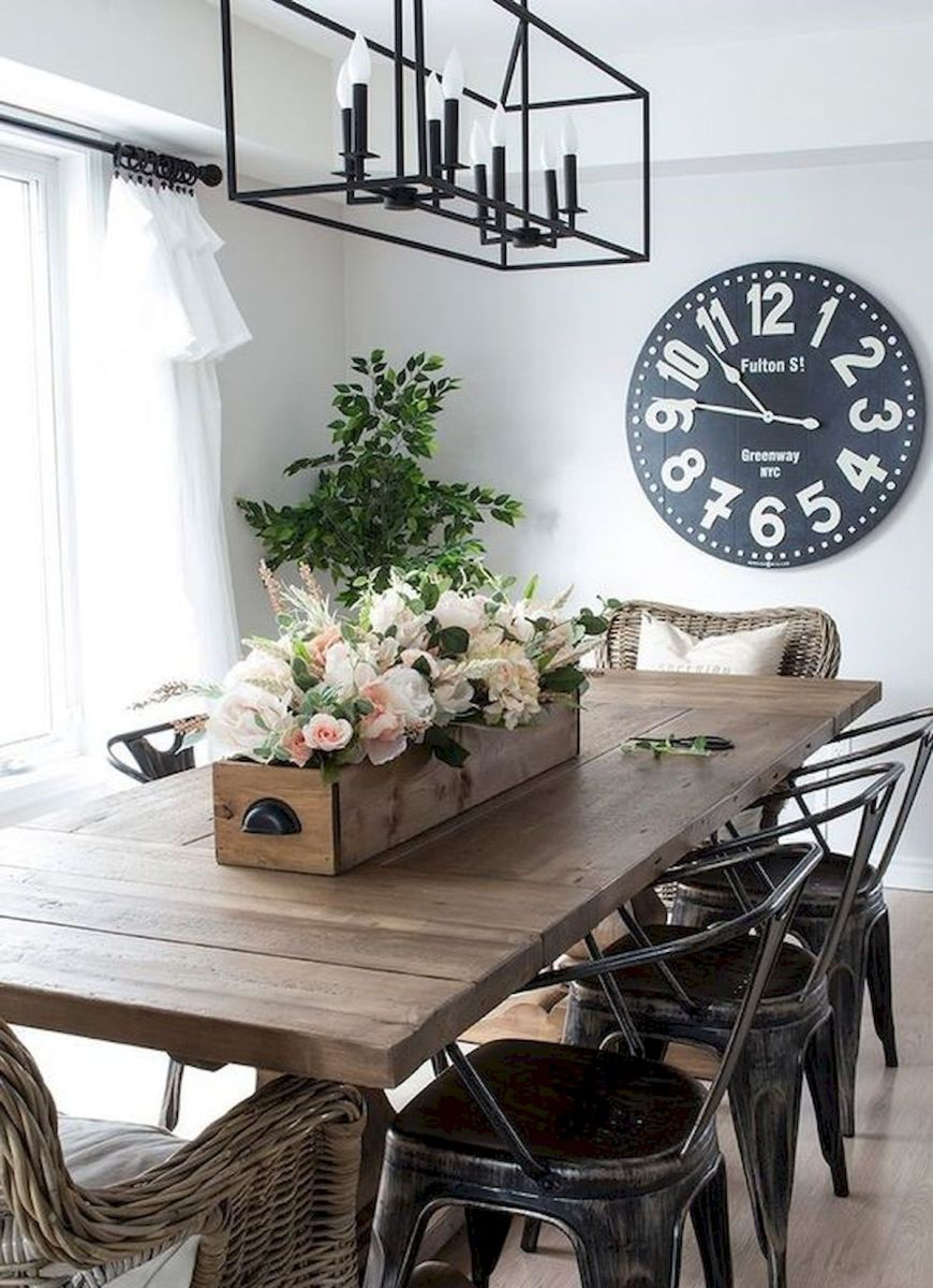 30 Best Farmhouse Table Dining Room Decor Ideas (23)